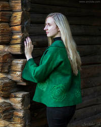 Handmade green nuno felted jacket