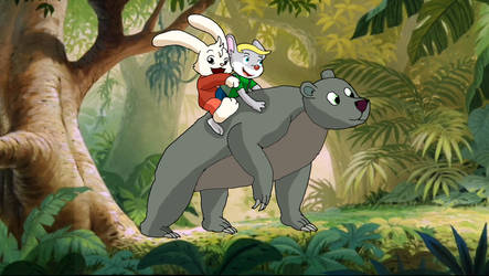 Rabbit and boy on bear in jungle