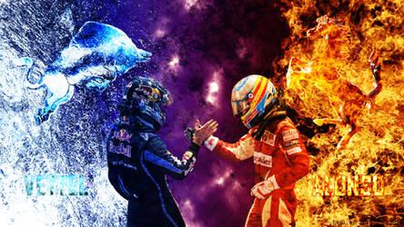 Vettel vs. Alonso by atatashechke