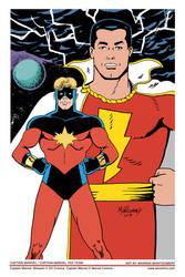 Captain Marvel / Captain Marvel Tag Team Color by twm1962