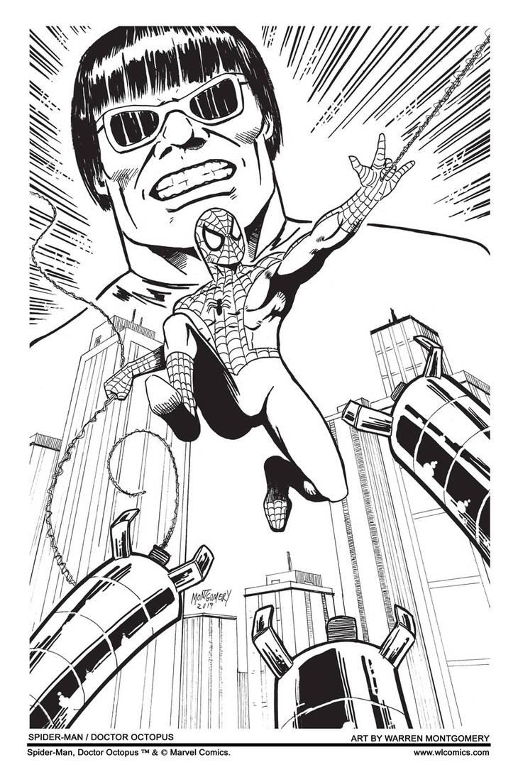 Spider-Man/Doctor Octopus b/w by twm1962