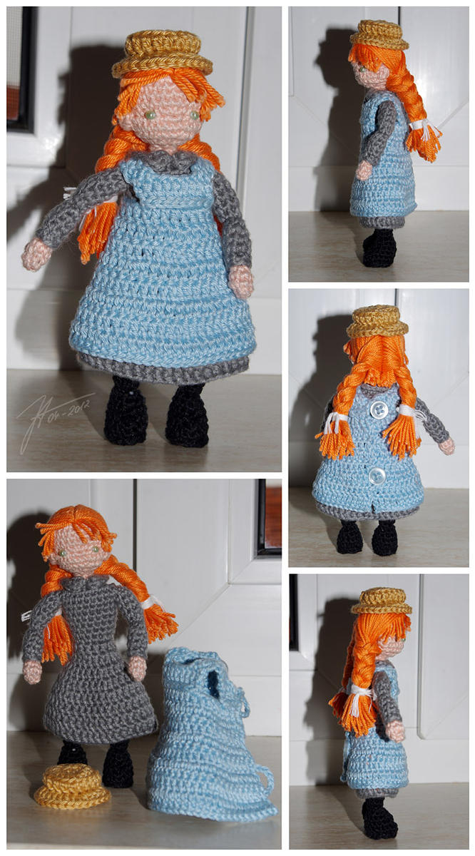 the crocheted anne of green gables by janey in a bottle