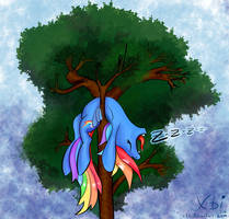 Rainbow Dash sleeping in tree by xbi