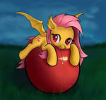 Cute Flutterbat is Nomming Big Red Apple