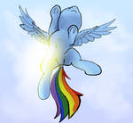 flying Rainbow Dash, bottom view