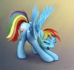 Rainbow Dash Stretching And Yawning