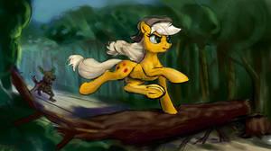 Applejack runs from timberwolf