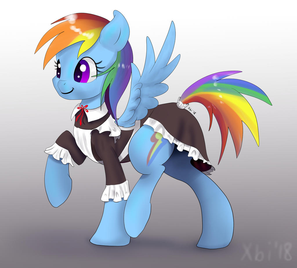 Rainbow Dash in maid dress