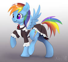 Rainbow Dash in maid dress by xbi