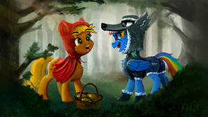 Red Hood Applejack and the wolf Rainbow Dash