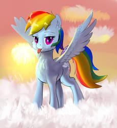 Fluffy Rainbow Dash with fluffy tongue by xbi