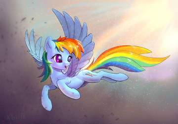 Rainbow Dash is flying by xbi