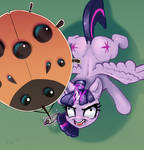 Hypnotized Twilight Sparkle with the ladybug kite