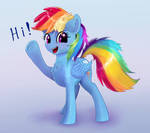 Rainbow Dash raises her hoof and says 'Hi!'
