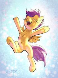Happy Scootaloo 'Yay!' jump by xbi
