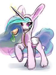 Celestia in bunny costume by xbi