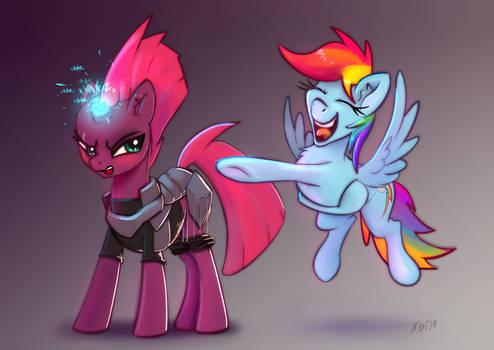 Rainbow Dash pranks on Tempest Shadow by xbi