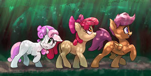 Everfree Forest Cmc Scootaloo Sweetie Belle Apple