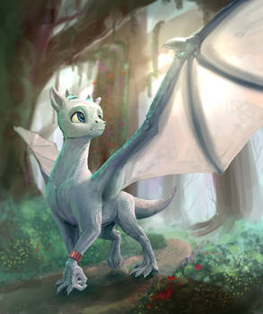 White dragon in forest spreads wings