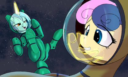 Bon Bon  and Pony Lyra's magic hand  in space