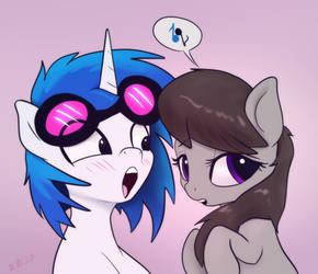 Octavia and Vinyl Scratch are talking about music