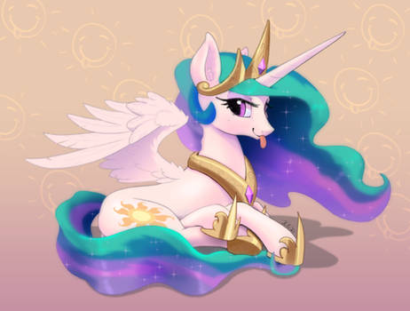 Celestia is smiling and sticking out her tongue