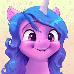 Smiling unicorn pony Izzy portrait