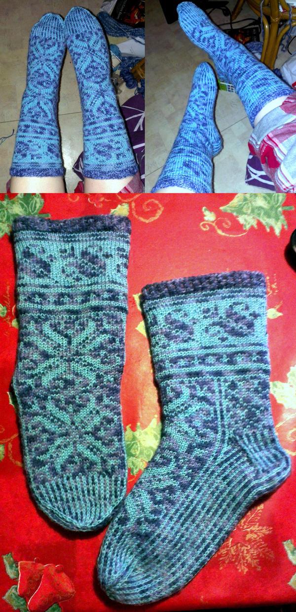 Blue winters ice fair-isle Lilli socks by KnitLizzy
