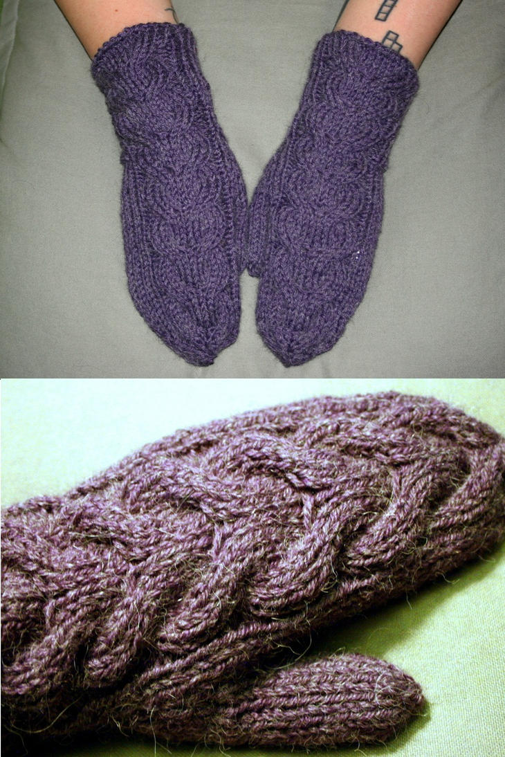 Knitting Pattern For Bella Mittens : Purple Bella Mittens by KnitLizzy on DeviantArt