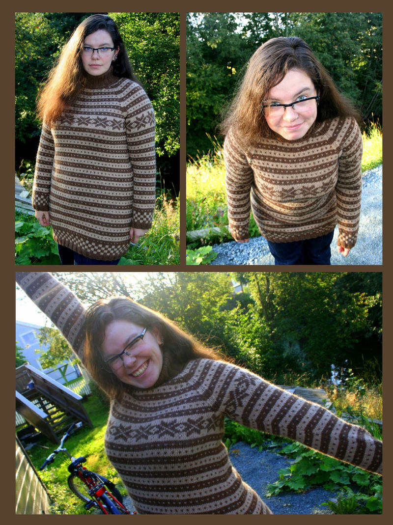 Fana fair-isle sweater, brown and beige by KnitLizzy
