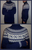 Marine blue Neville fair-isle sweater - COMMISSION by KnitLizzy