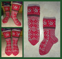 Retro Christmas fair-isle Lilli socks by KnitLizzy