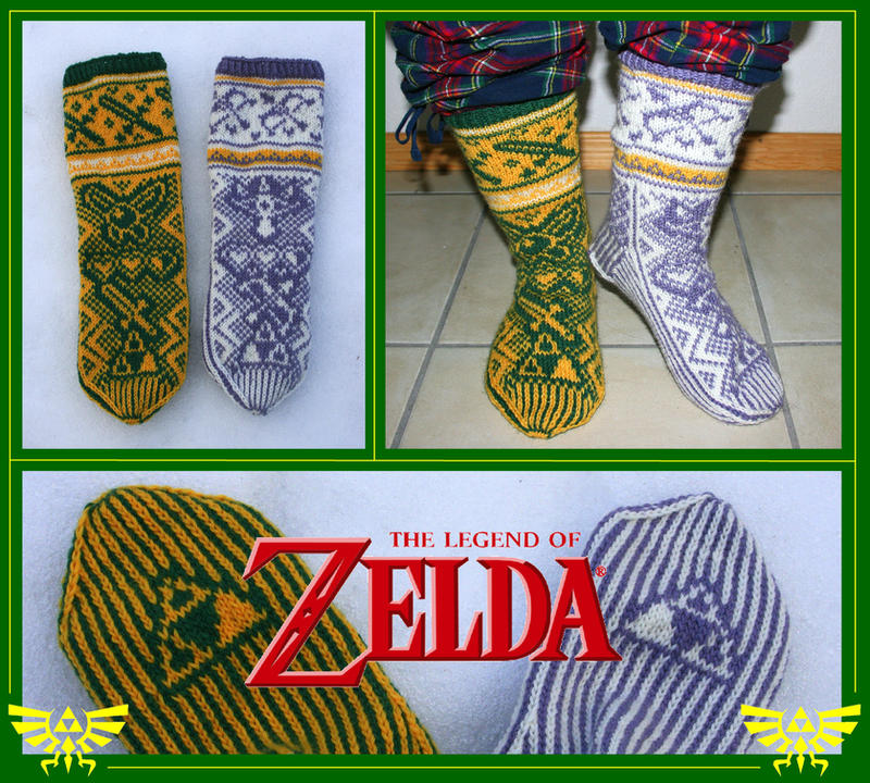 The Legend of Zelda fair-isle socks by KnitLizzy on DeviantArt