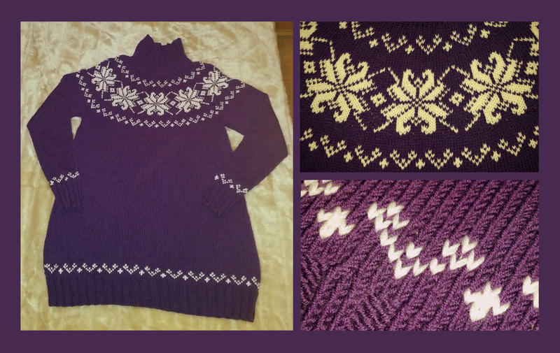Purple rose fair-isle sweater - COMMISSION by KnitLizzy on DeviantArt