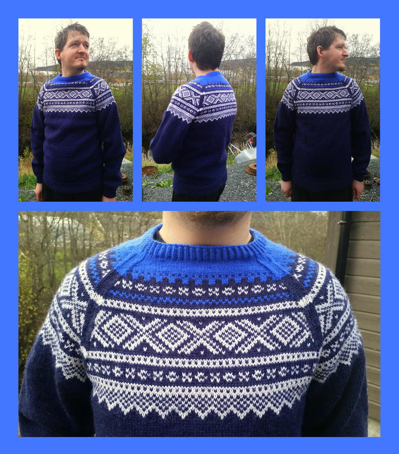 Double blue Marius fair-isle sweater with raglan by KnitLizzy on ...