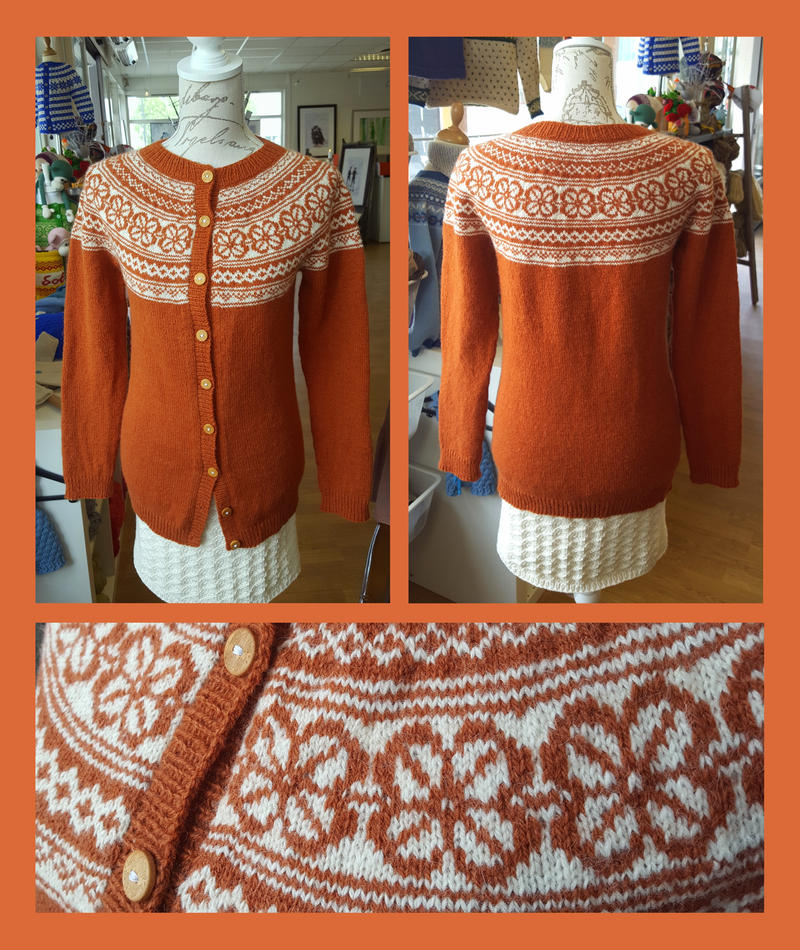 Rust Boevertun small fair-isle cardigan COMMISSION by KnitLizzy