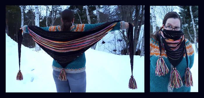 Beastkeeper hand dyed rainbow shawl