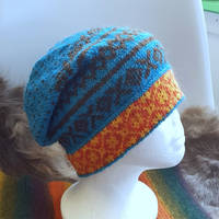 Slouchy turquoise hat