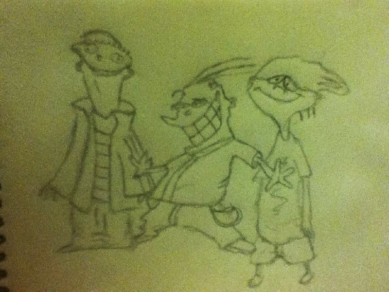 Sketches of the Three Dorks by TheFreakness101