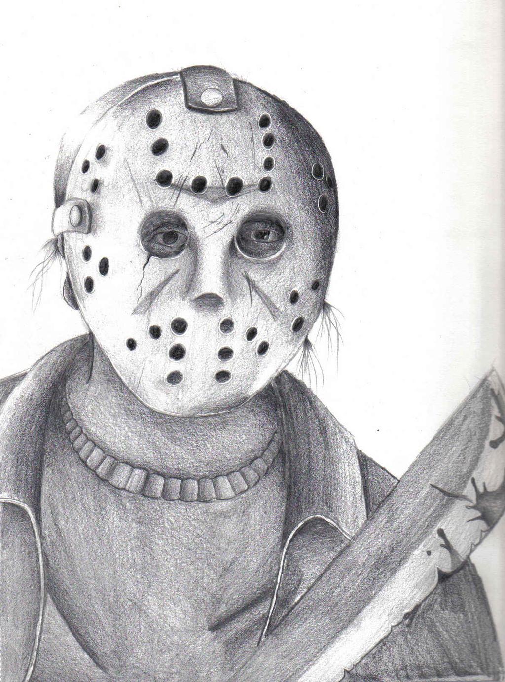 Jason Mask Drawings Jason Voorhees Drawing By Skyfire132 On