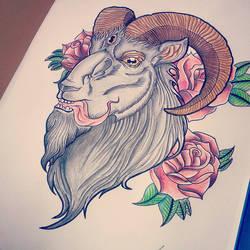 Rosy goat tattoo design