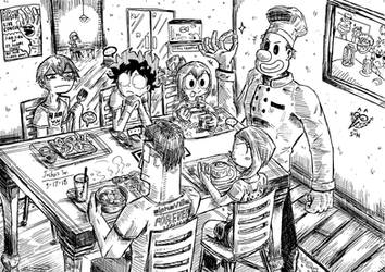 The Dekusquad goes out for dinner by Josh-S26