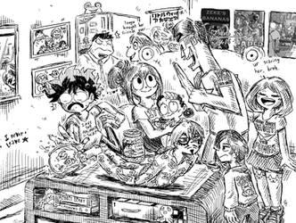 The Dekusquad visits Tsuyu's house by Josh-S26
