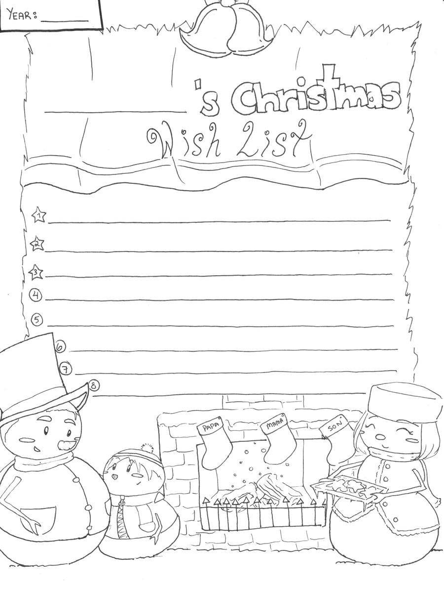 Christmas Wishlist Lineart By Candy Gal75 On Deviantart Wish List Coloring Page