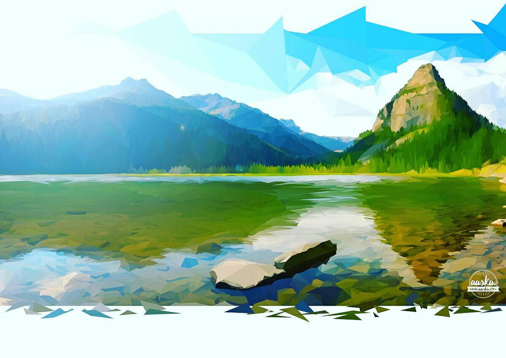 Low-poly landscape with photoshop by AASKA-CREA