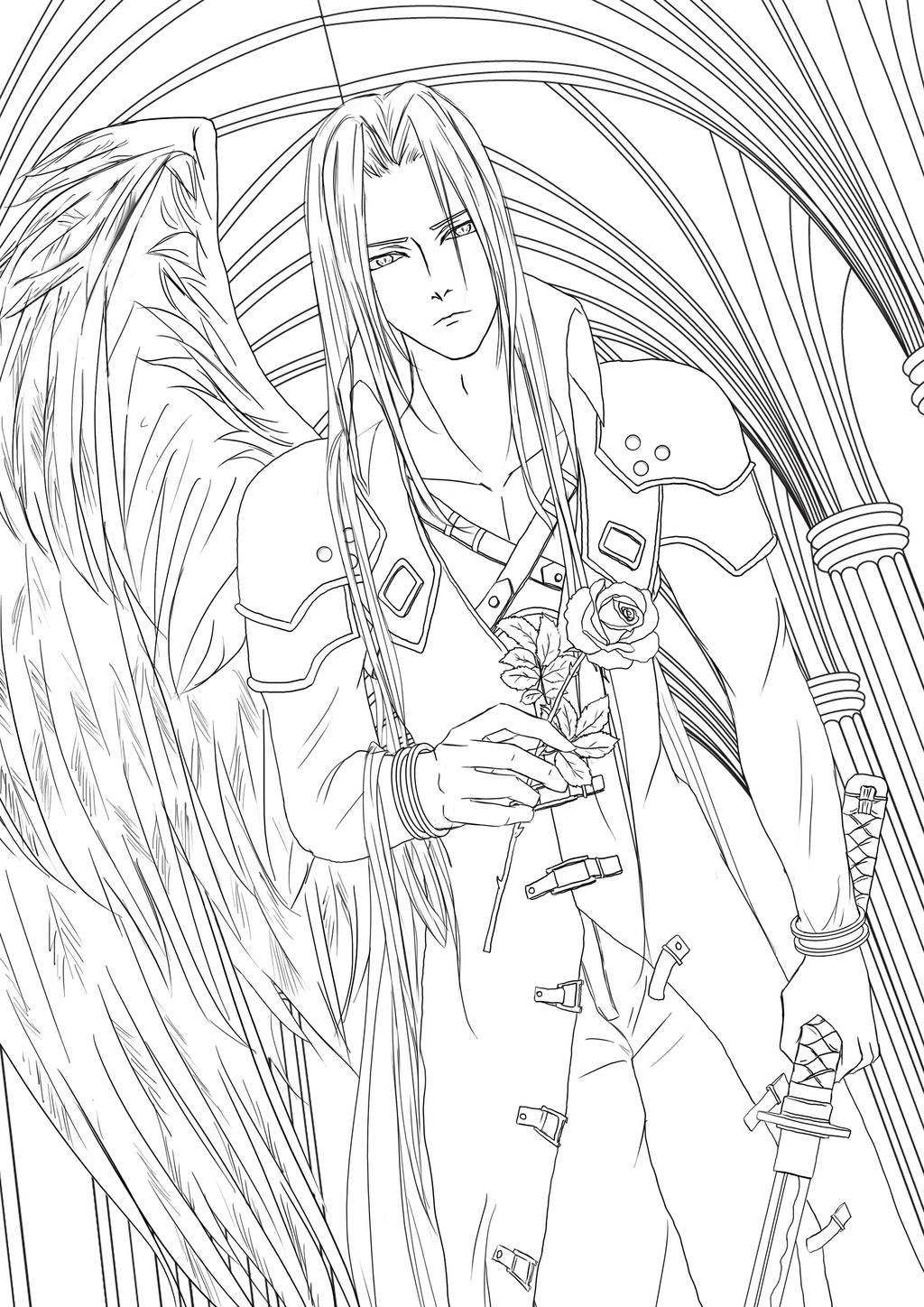 Sephiroth lineart by katsuyamotto on deviantart for Final fantasy coloring pages
