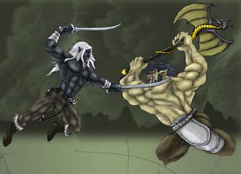 Drizzt vs. Grguch WIP2 by EgilSterkr