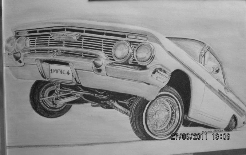 how to draw a lowrider truck