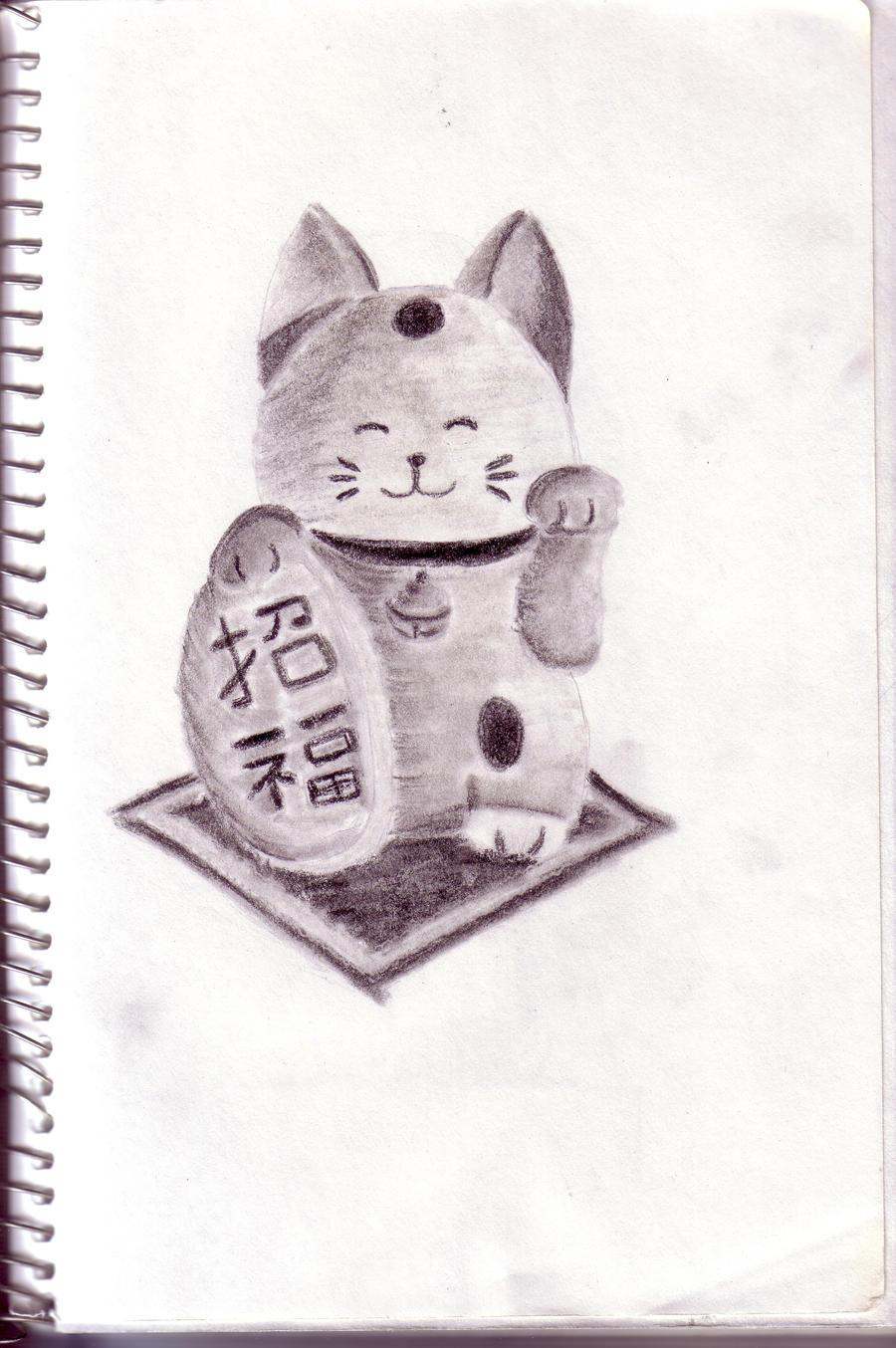 Maneki Neko Sketch by SilverFritillary
