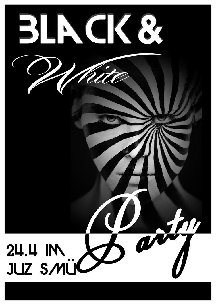 black and white party poster by chaozzone on deviantart. Black Bedroom Furniture Sets. Home Design Ideas